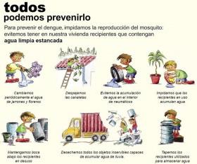 Uno de los tantos cuadros explicativos que recomienda hábitos a tener en cuenta para la erradicación del mosquito que transmite el dengue y otras enfermedades que se extienden en nuestra zona y en una vasta región de Sudamérica