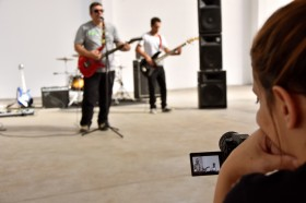 """Un momento de la grabación del videoclip del tema """"Hey"""", hace apenas 10 días"""