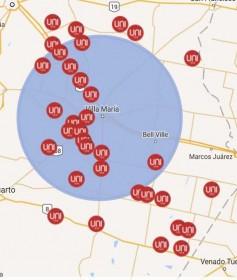 Mapa de cobertura. Plataforma TDA (por aire, círculo grande) y plataforma de cable, en círculos chicos, en las localidades donde distintos operadores privados y cooperativas incorporarán la señal