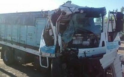 Chocó en la autopista un camión de una firma de transporte de Idiazábal