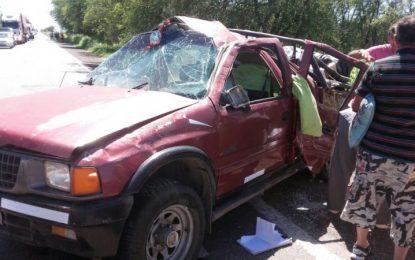 Falleció un niño al volcar una pick up en la ruta 158